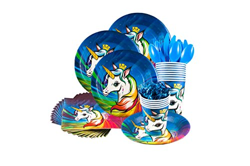 Unicorn party supplies set - Serves 16 guests forks, knives, cups, plates, napkins, tablecloth, happy birthday banner - Birthday party supplies and decorations - Unicorn party tableware set