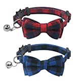 OFPUPPY 2 Pack Set Cat Collar Plaid Breakaway with Bell - Bowtie Style for Kitty Adjustable 7.8-10.2