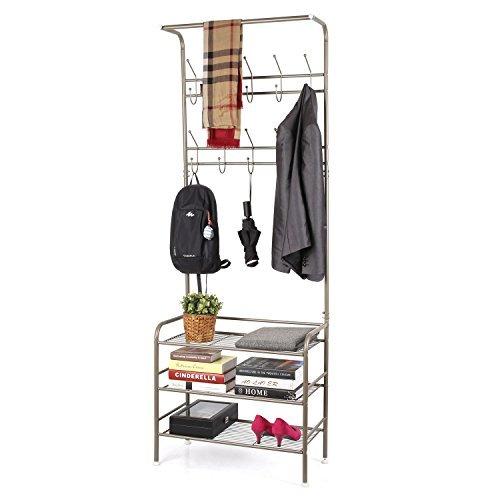 HOMFA Metal Entryway Coat Shoe Rack 3-Tier Shoe Bench with Coat Hat Umbrella Rack 20 Hooks (Champagne)