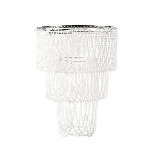 Tadpoles Pearlized Beaded Triple Layer Shade, Large, White, Chandelier Style ()