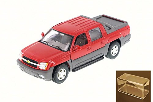 Diecast Car & Accessory Package - 2002 Chevy Avalanche Pick Up Truck, Red - Welly 22094 - 1/24 Scale Diecast Model Toy Car w/display case