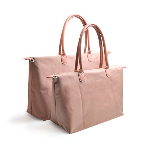 Calunce Women's Stylish Waterproof Tote Shoulder Bag Six Color and M/L for Choice (dusty pink, M)