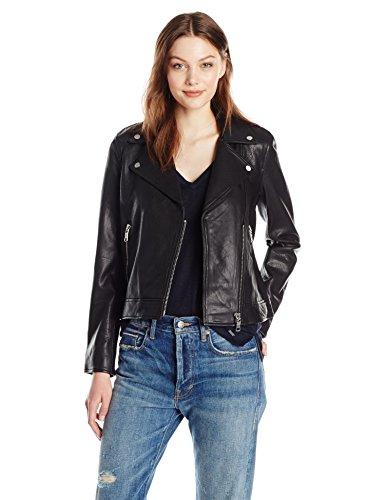 Armani Leather Jackets - A|X Armani Exchange Women's Sheep Leather Moto Jacket, Black, Small