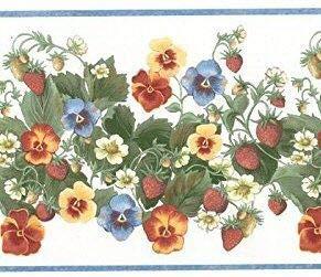 Pansy Vine - Strawberry Flower Vine and Pansy Wallpaper Border 12773