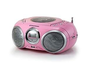 Audio-sonic- Radio con reproductor de CD (portátil, MP3, puerto USB, pila y red, pantalla LCD, conector para auriculares)