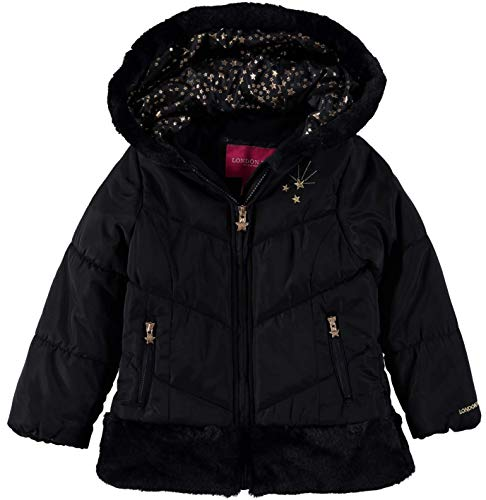 (London Fog Girls' Toddler Shine Warm Winter Jacket, Very Black, 2T)