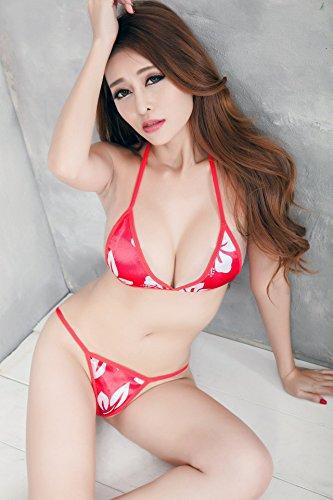 Shangrui Mujer La Impresión Multicolor de 3-puntos Sujetador y Tanga Traje Y2004 Rojo