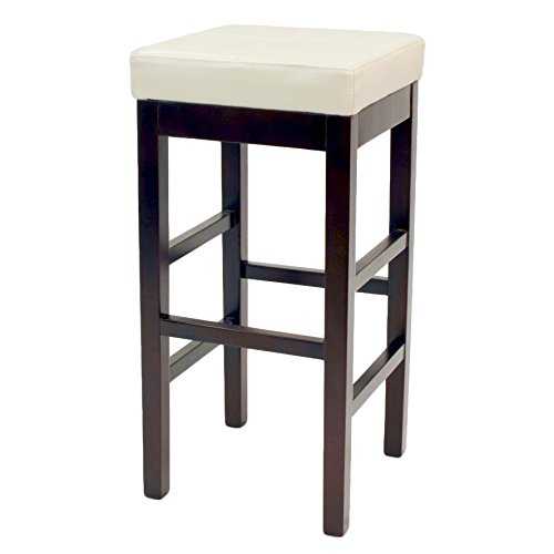 New Pacific Direct Valencia Backless Leather Bar Stool 31 ,Brown Legs,Beige