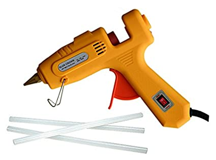 GLUN 60W 100W 60/100Watt Dual Wattage Hot Melt Glue Gun With Glue Sticks (Yellow Glue Gun With 3 Glue Sticks)