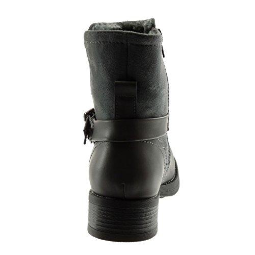 Intérieur Légèrement Bottine Mode Gris Angkorly Fourrée Lanière 3 Talon Bi matière Chaussure Femme Motard 5 Bloc Boucle Cm ZRx6S1