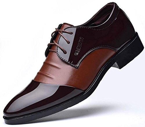 XWZG Scarpe Da Uomo Scarpe Da Lavoro Classiche Scarpe Eleganti Da Banchetto In Pelle Verniciata Di Grandi Dimensioni brown