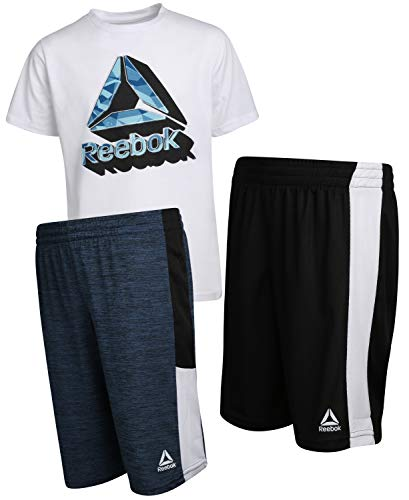 Play Reebok Dry T-shirt - Reebok Boys\' 3 Piece Performance Sports T-Shirt and Short Set, True White, Size 4'
