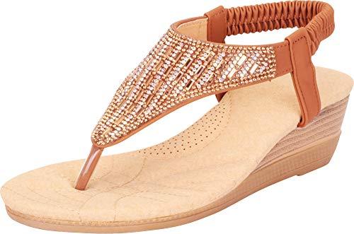 Cambridge Select Women's Thong Toe Crystal Rhinestone Stretch Slingback Comfort Low Wedge Sandal,9 B(M) US,Camel PU
