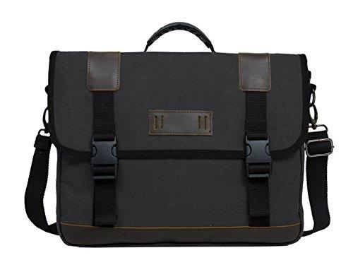 Black Mens Messenger Bag (ECOSUSI Vintage 14.7-inch Canvas Messenger Bag Military Shoulder Laptop Bag for Men,)