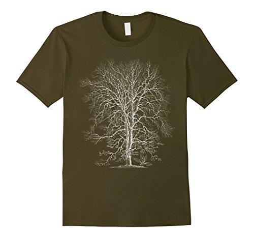 Men's Oak Tree T-Shirt. Tree Natural Oak Tree Woodsman Tee Small Olive (Oak Tree Vintage)