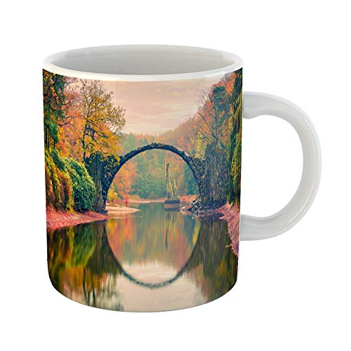 Emvency Coffee Tea Mug Gift 11 Ounces Funny Ceramic Impressive Sunset in Azalea and Rhododendron Park Kromlau Germany Europe Gifts For Family Friends Coworkers Boss Mug ()