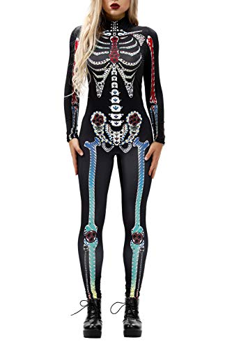 Womens Cool Skeleton Skull Flower Stretch Halloween Costume Overall Jumpsuit Rompers Green L ()