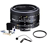 Nikon 50MM f/1.8D AF Lens 52MM UV Cleaning Bundle. Value Kit Acc