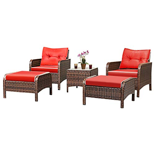 Tangkula Wicker Furniture Set 5 Pieces PE Wicker Rattan Outdoor All Weather Cushioned Sofas and Ottoman Set Lawn Pool Balcony Conversation Set Chat ()