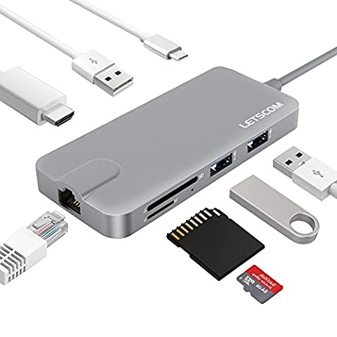 USB-C Hub, Letscom 8-in-1 Type C Hub with HDMI Port, Gigabit Ethernet Port, USBC Charging Port, 2 USB 3.0 and 1 USB 2.0 Ports, SD/TF Card Reader, for MacBook Pro and More Type-C Devices, - Cable Usb Rj 45 Connector