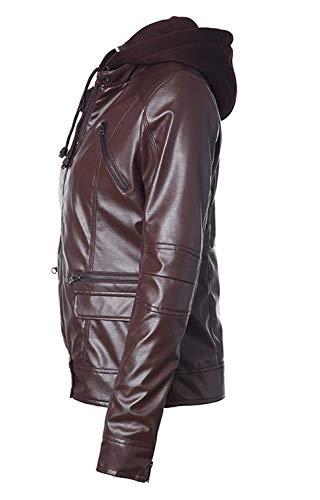 Alta Giacche Vita Outwear Cerniera Di Elegante Pelle Con Donna Similpelle Lunga Moto Autunno Manica Marca Fashion In Sottile Transizione Giacca Giubbotto Mode Incappucciato Casual Kaffee Invernali S0gqqw