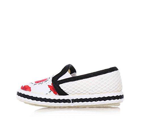 MONNALISA - Chaussure blanche sans lacets en tissu, fille, filles