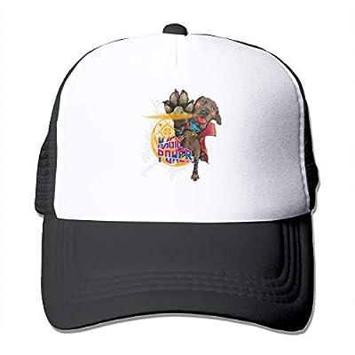 AiguanSuper Hero Dog Strange Magic Power Sun Protection Adjustable Caps Cooling Mesh Hat Black