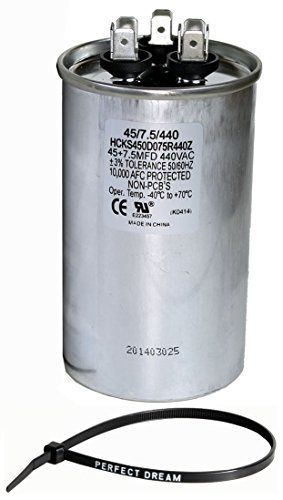 TradePro 45+7.5 uf MFD 370 or 440 Volt Dual Run Round Capacitor Bundle TP-CAP-45/7.5/440R Condenser Straight Cool/Heat Pump Air Conditioner and Zip Tie by TradePro