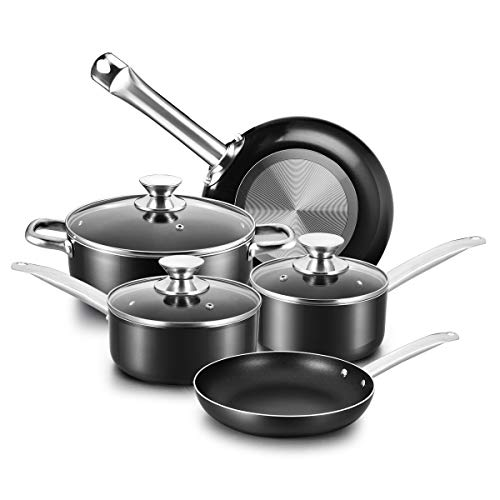- COOKER KING Non-Stick Cookware Set, 8 Piece Nonstick Pots and Pans Set with Glass Lids, Oven Safe, Dishwasher Safe, Stainless Steel Handles, Night Black