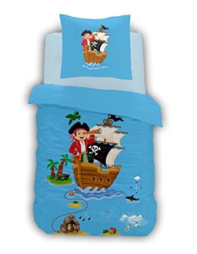Aminata Kids - süße Kinder-Bettwäsche 100x135 cm Baumwolle Pirat See-Räuber Piraten-Schiff Schatz-Insel blau