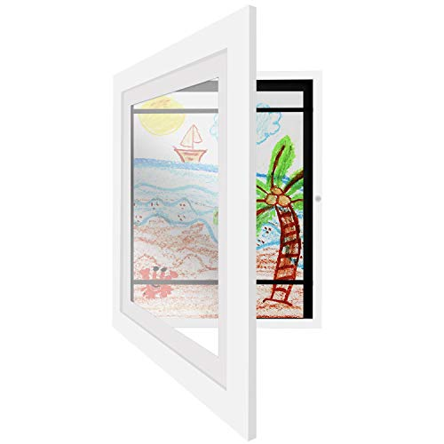 Americanflat White Kids Artwork Picture Frame   Displays 8.5x11 inch Artwork with Mat and 10x12.5 inch Artwork Without Mat. Shatter-Resistant Glass. Hanging Hardware Included!