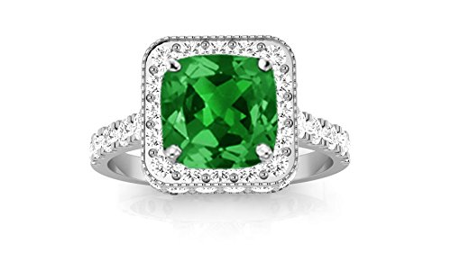 Platinum Contemporary Yet Milgrain Vintage Designer Halo Diamond Engagement Ring with a 1 Carat Emerald Heirloom Quality Center