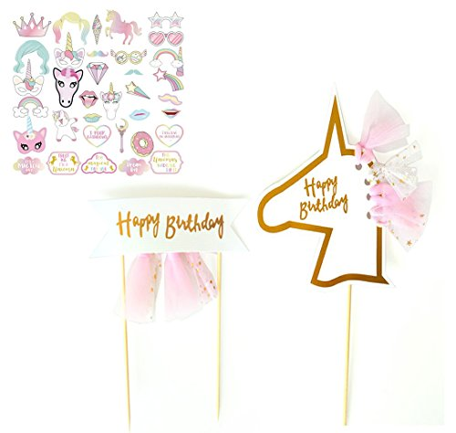 Weisu Happy Birthday Party Supplies Decorations Kit,Include 2 Pcs Glitter Happy Birthday Cake Toppers,36pcs Photo Booth Props ,Unicorn Themed Felt Garland Parties Decor for Girls by Weisu (Image #5)