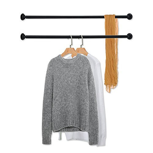 MyGift Set of 2 Matte Black Wall Mounted Metal Corner Clothing Hanging Bar, Garment ()