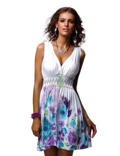 Jinhuanshow Women's Low Cut Floral Printed Summer Dresses(M, Color2-fba)