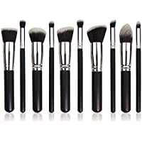 Brain Freezer J Makeup Brushes Set Tool Pro Foundation Blending Blush Eyeliner Face Powder Brush Kit (Silver Black Grey)