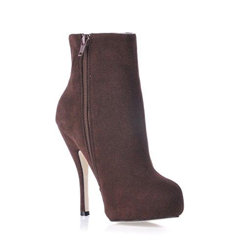 Del Alto Salvaje Mujeres El Bootie Brown Invierno Satinado Talón Zapatos Arranque Sexy En Negro Nuevo Señoras 010qPw7x