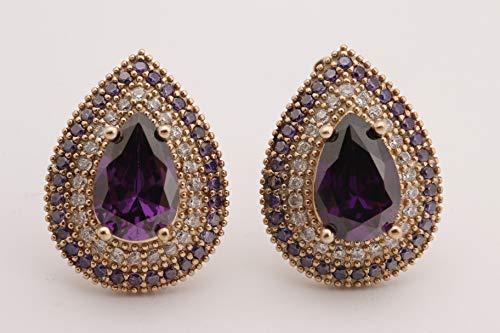 (Turkish Handmade Jewelry Small Drop Shape Pear Cut Amethyst and Round Cut Topaz 925 Sterling Silver Stud Earrings)