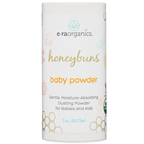 Talc Free Baby Powder 3oz. USDA Certified Organic Dusting Powder by Honeybuns Non-GMO, Cruelty Free, Natural and Organic Baby Products.
