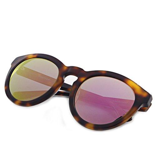 Hourvun Polarized Round Sunglasses for women with Mirror UV400 Protection (tortoiseshell, pink - Round Sunglasses Tortoiseshell