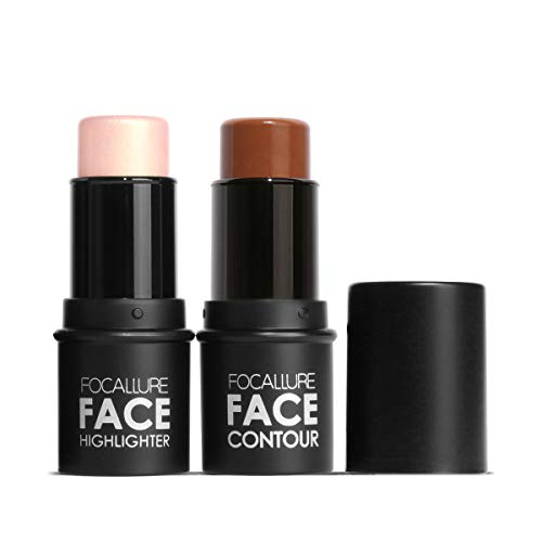 Focallure 2 Pcs Contour Foundation Stick, Highlighter & Bronzer Pen, Face Brightens & Shades Pencil, Highlighting Shade…