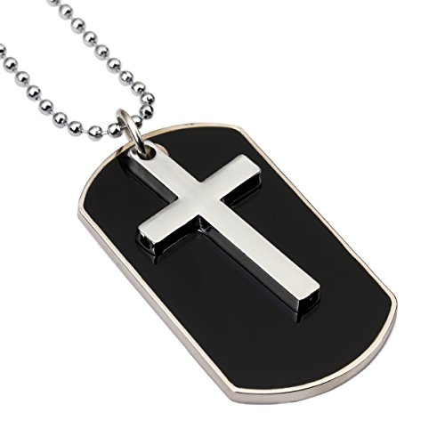 NYUK Mens Cross Tags Necklace(Black)