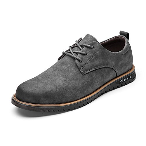 Mens Smart Soft Leather British Martin Shoes, COUTUDI Comfortable Lace-up Flats for Formal Work (UK 8.0, Grey)