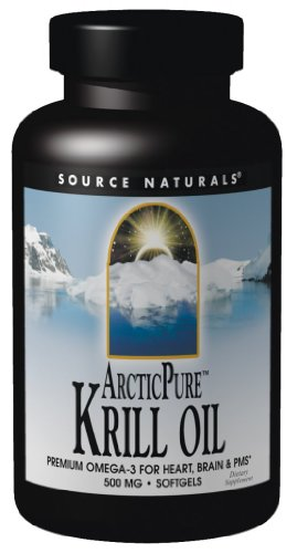 Source Naturals ArcticPure Krill Oil 500mg, Premium Omega-3 for Heart, Brain, and PMS, 30 Softgels