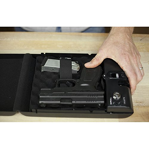SOLOMONE CAVALLI Portable Biometric Fingerprint Gun Pistol Safe Jewelry Handgun Safe Box Security Box Hidden in Bedroom Car
