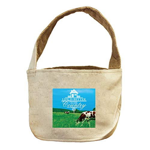 Style in Print Life is Better Country Among Hills and Cows Canvas and Burlap Storage Basket by Style in Print (Image #1)