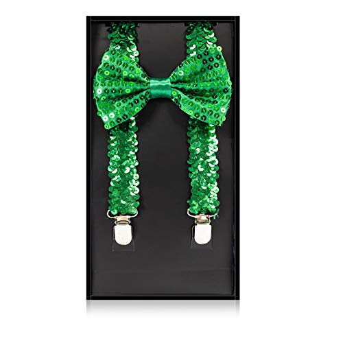 Buha Suspenders for Men, 2 in 1 Suspenders and Bow Tie, Mens Outfits Casual Suspender and Bow Tie Special Edition (Sequins-Green)