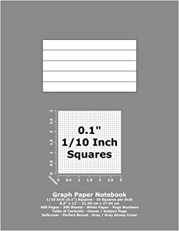 graph paper notebook 0 1 inch 1 10 squares 8 5 x 11 21 59 cm