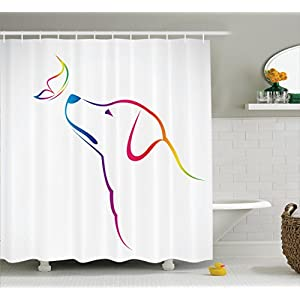Ambesonne Dog Lover Decor Shower Curtain Set, Image Of A Labrador With Butterfly Miracle Of The Planet Earth Friend Universe Illustration, Bathroom Accessories, 69W X 70L Inches, Multi