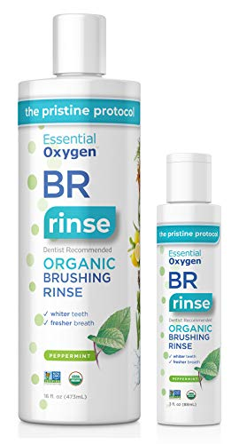 Essential Oxygen BR Certified Organic Brushing Rinse, All Natural Mouthwash, Peppermint, 16 oz with 3 oz Travel Size